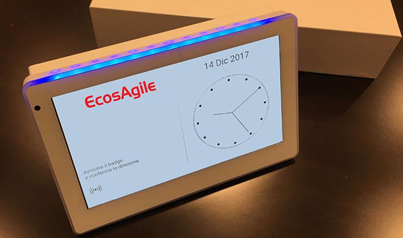 Rilevazione Presenze timbracartellino badge tessere NFC marcatempo digitale wi-fi timbratura controllo accessi personale eClock EcosAgile